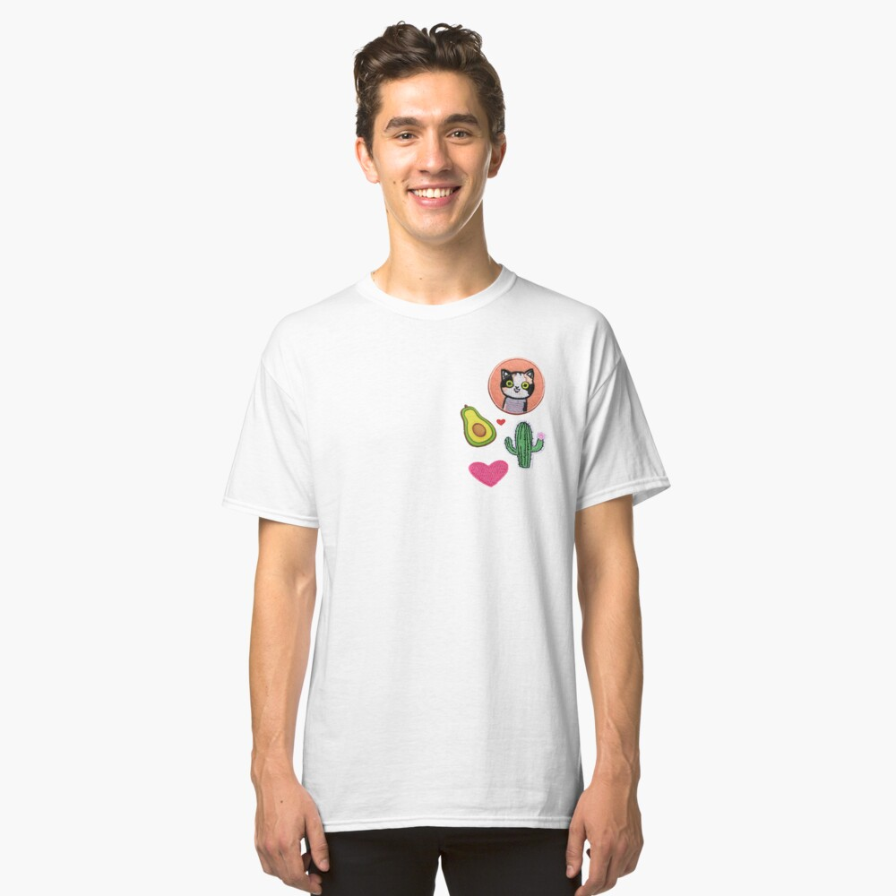 Cactus and Cat Patches Classic T-Shirt Front