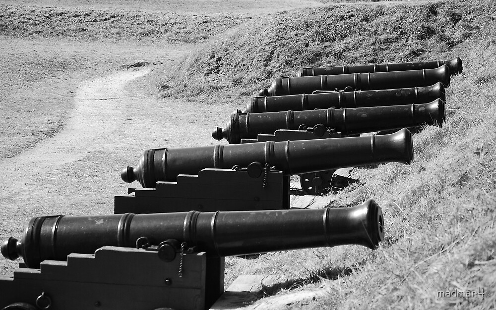 Civil War Cannons (B&W) by madman4