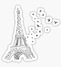 paris eiffel tower birds Sticker