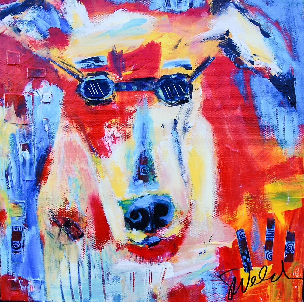 Woof - Funky Dog in Glasses by Sharon Welch