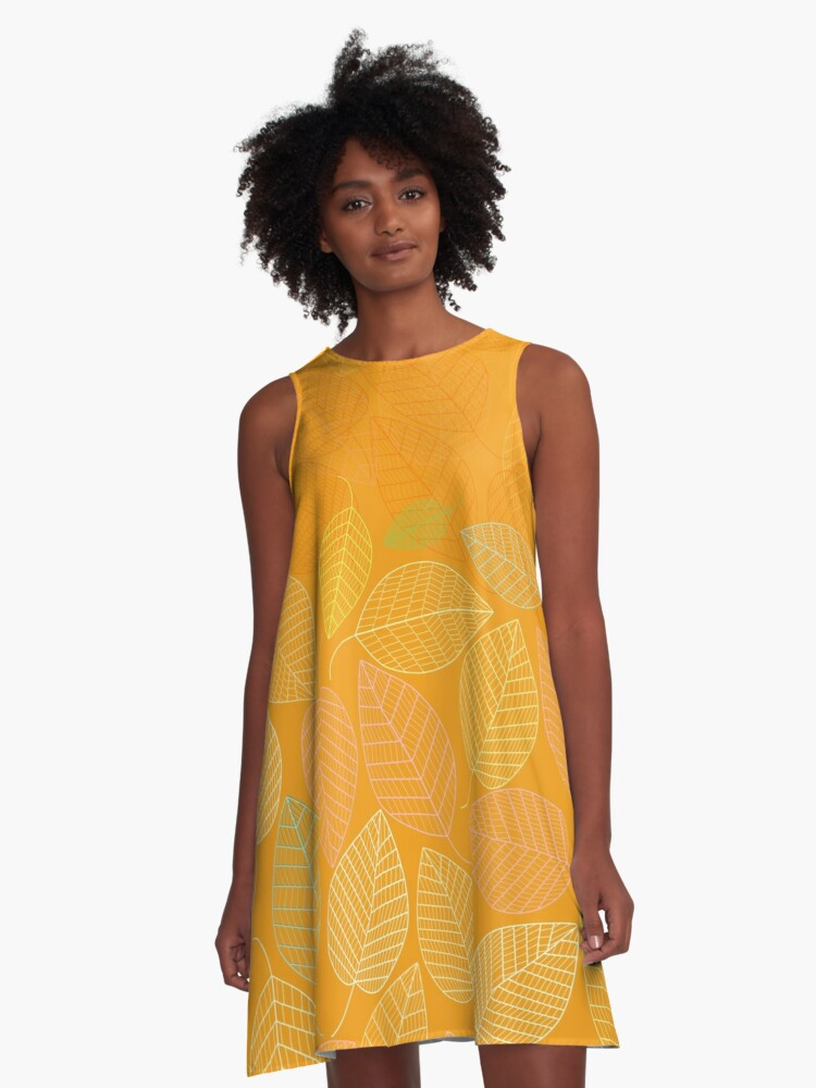 LEAVES ENSEMBLE ORANGE YELLOW A-Line Dress Front