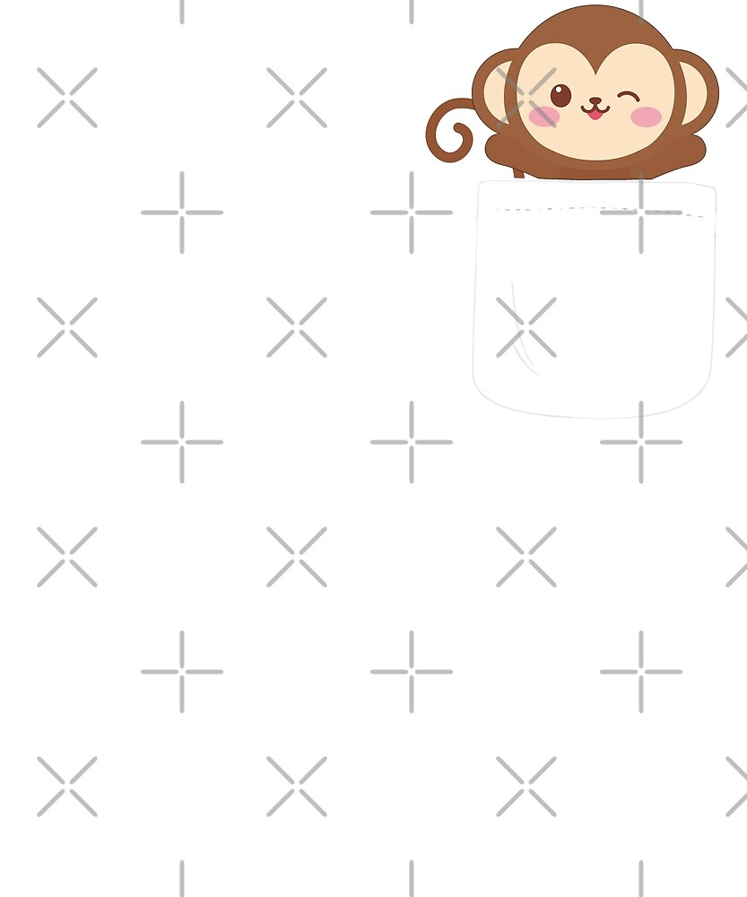 Monkey In Your Pocket Funny Emoji Animal Love by JapaneseInkArt