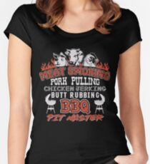Meat Smoking Pork Pulling Chicken Jerking Butt Rubbing BBQ Pit Master Tee Women's Fitted Scoop T-Shirt