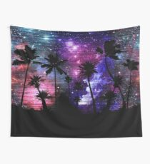 Palm Tree Beach Space Galaxy Star Repeat Wall Tapestry