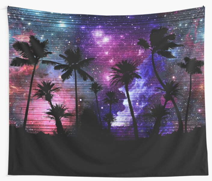 Palm Tree Beach Space Galaxy Star Repeat by Wild Burro