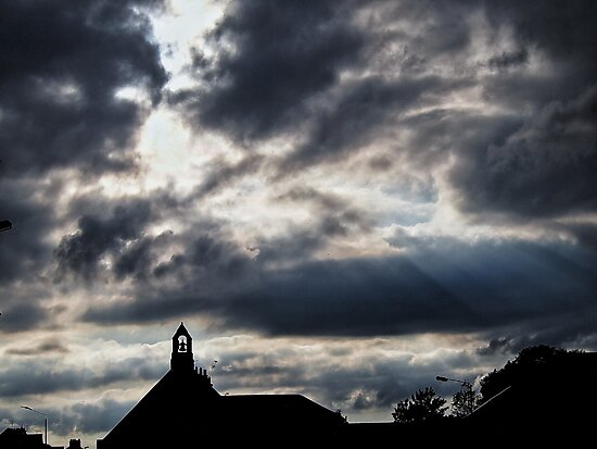 Sun rays, clouds, and a church bell. by AbriiD