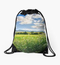countryside summer landscape with field, forest and mountain ridge Drawstring Bag