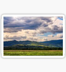 countryside summer landscape with field, forest and mountain ridge Sticker
