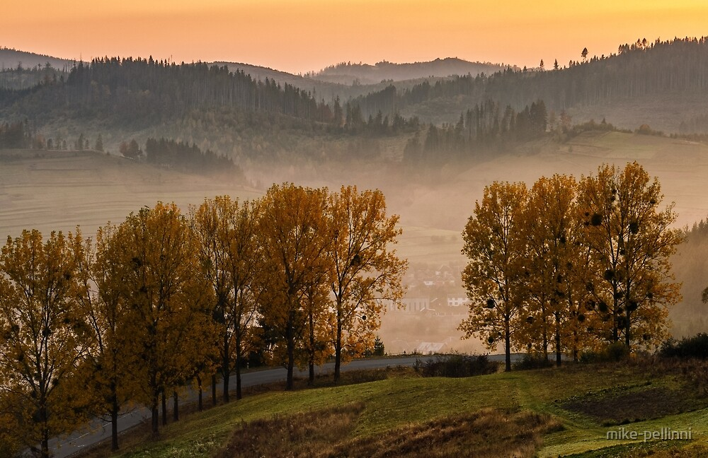 mountain rural area in autumn by mike-pellinni
