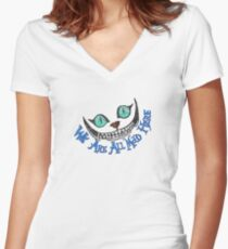 Alice Cheshire Cat Women's Fitted V-Neck T-Shirt