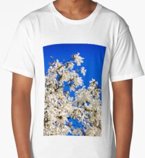 magnolia flowers on a blue sky background Long T-Shirt