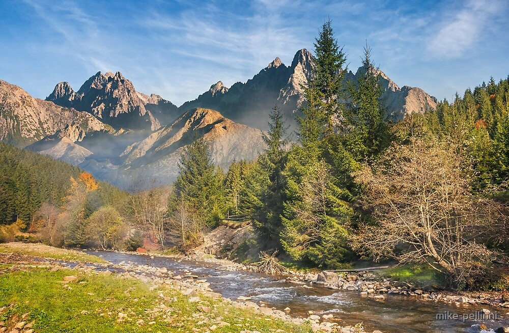 Mountain river in autumn forest by mike-pellinni