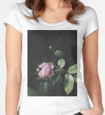 Pastel Pink Rose Women's Fitted Scoop T-Shirt