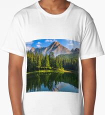 spruce trees near the lake in mountains Long T-Shirt
