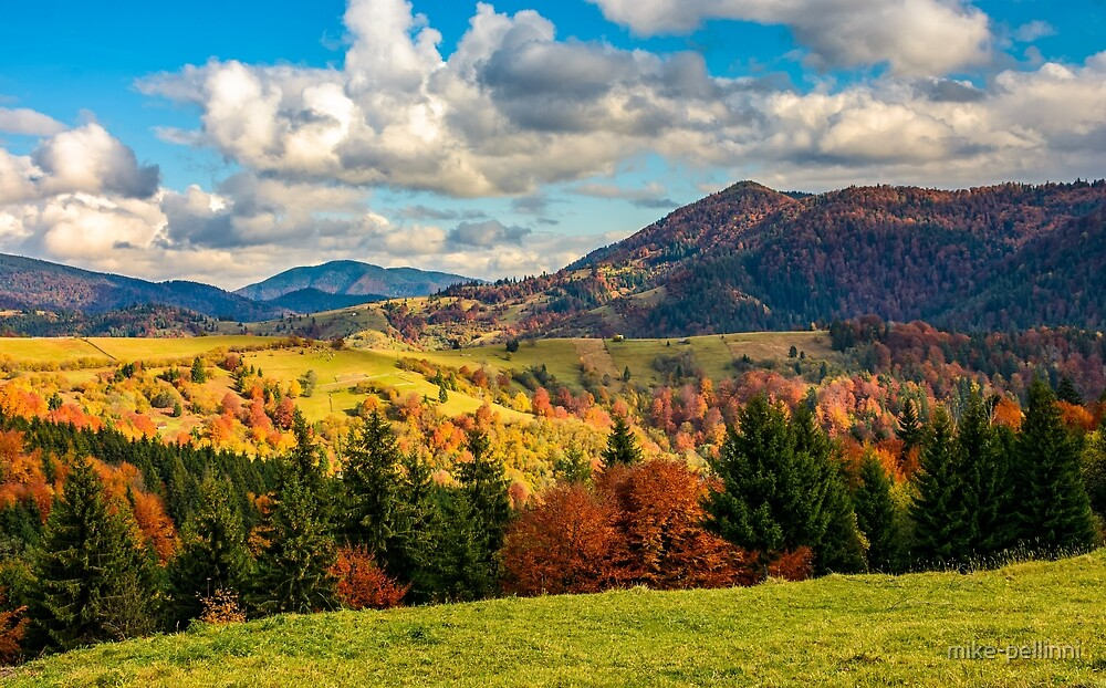 mountain rural area in late autumn by mike-pellinni