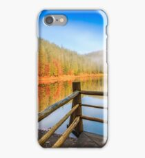pier on mountain Lake near the forest iPhone Case/Skin