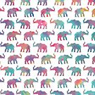 Elephants on Parade in Watercolor by inkedinred
