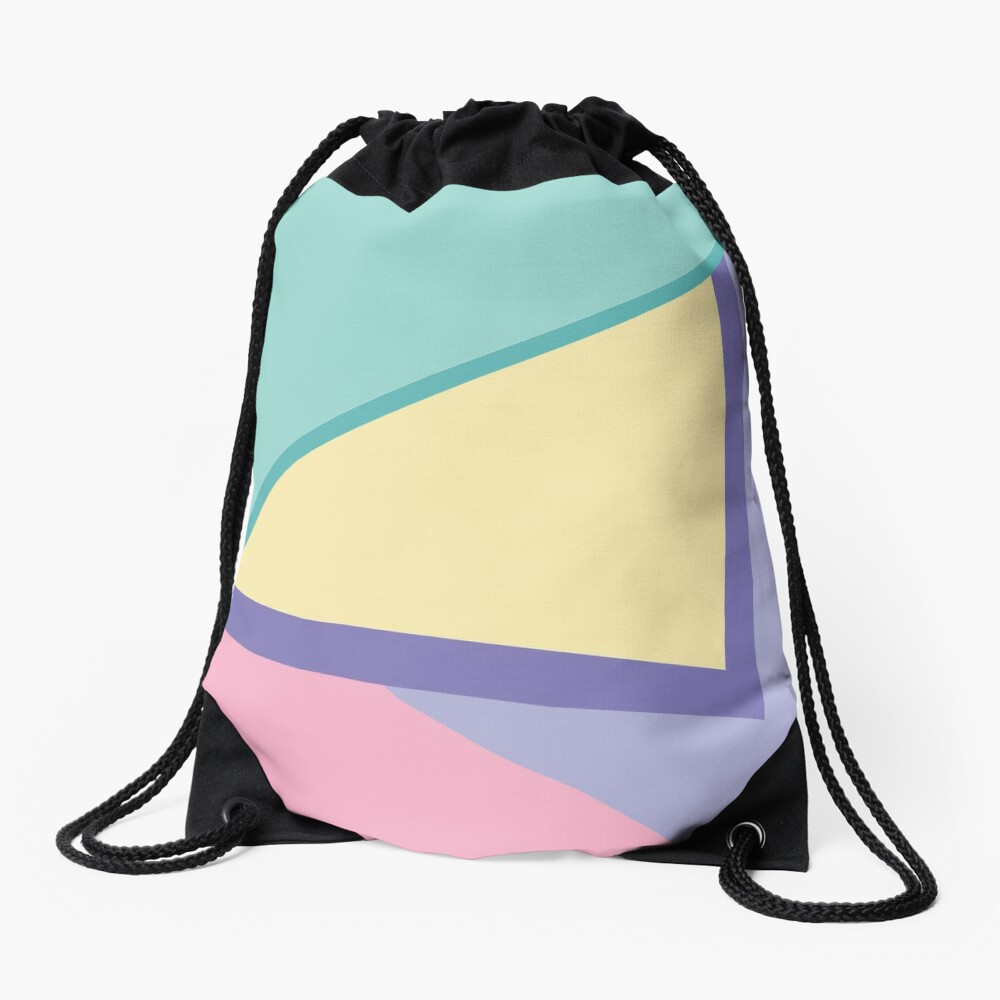 90s vibe pastel color blocks Drawstring Bag