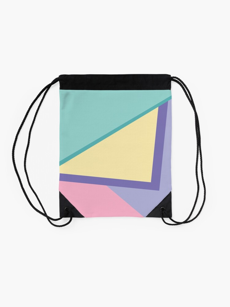 Alternate view of 90s vibe pastel color blocks Drawstring Bag