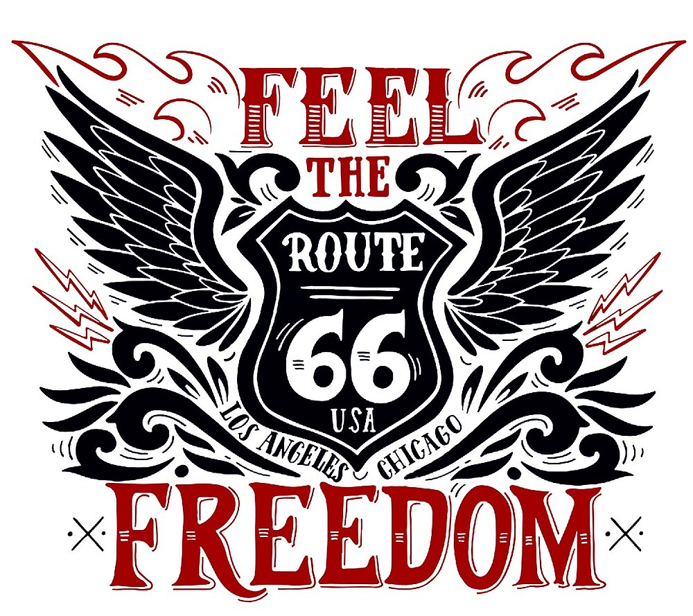 Feel Freedom Quote with Black Wings and Route 66 Road Sign by AmorOmniaVincit