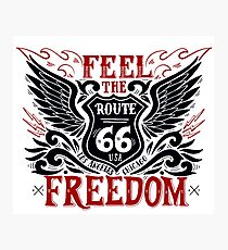Feel Freedom Quote with Black Wings and Route 66 Road Sign Photographic Print