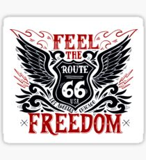 Feel Freedom Quote with Black Wings and Route 66 Road Sign Sticker