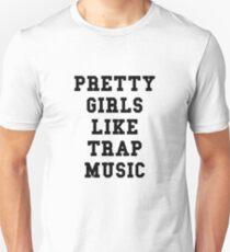 Hübsche Mädchen mögen Fallen-Musik - schwarzer Text Unisex T-Shirt