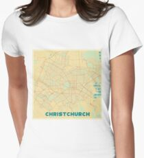 Christchurch Map Retro Womens Fitted T-Shirt