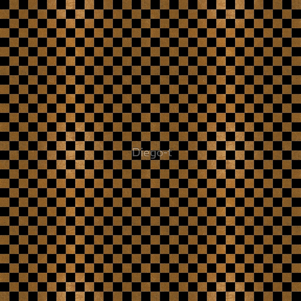Gold Leaf and Black Ink Checkered Board by Diego-t