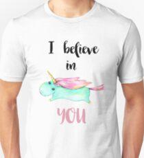 Einhorn-Zitat - Ich glaube an dich Unisex T-Shirt