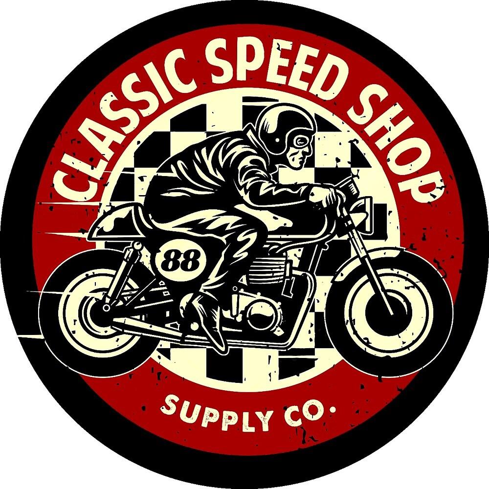 Classic Speed Shop Motorbike Vintage Rounded Emblem by AmorOmniaVincit