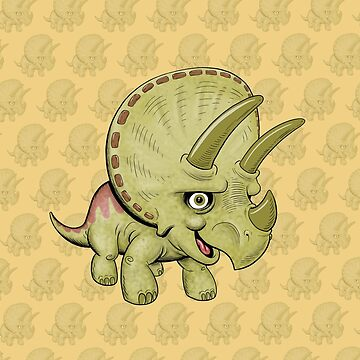 Cute Triceratops with pattern by Lines