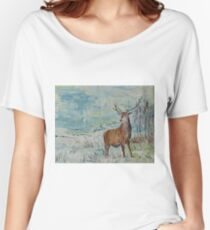 Highland red deer / stag in the snow Women's Relaxed Fit T-Shirt
