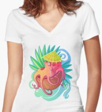 Octopus on the Beach Women's Fitted V-Neck T-Shirt