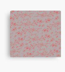 Grey & Red pohutukawa branch pattern Canvas Print