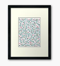 Back to the 80's eighties, funky memphis pattern design Framed Print