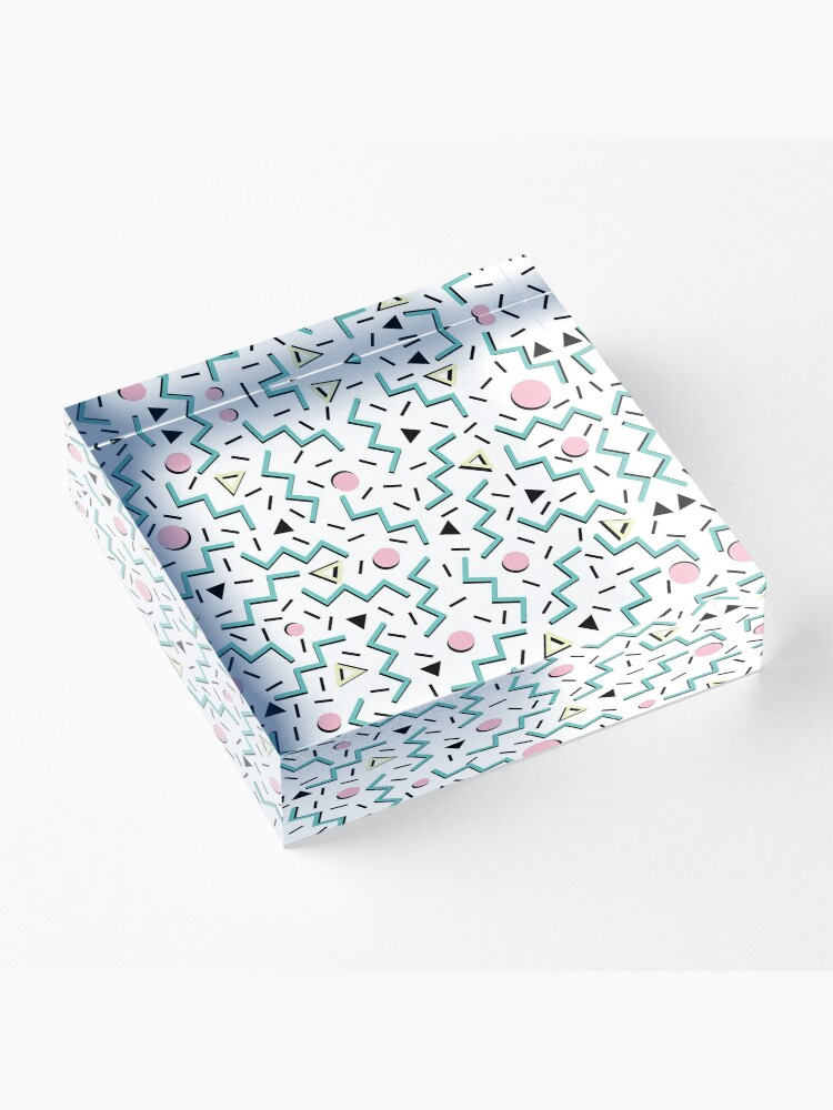 Alternate view of Back to the 80's eighties, funky memphis pattern design Acrylic Block