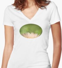 Dew on striped cactus flower abstract Women's Fitted V-Neck T-Shirt