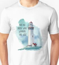 Lighthouse Painting - Not All Those Who Wander Are Lost Unisex T-Shirt