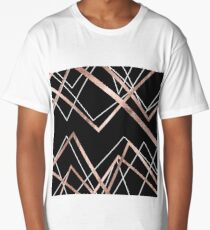 Rose Gold Black Linear Triangle Abstract Pattern Long T-Shirt