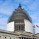 The Capitol Dome Dressed In Scaffolding by Cora Wandel