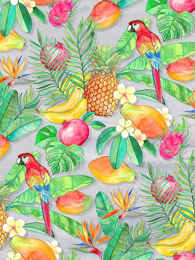 Tropical Paradise Fruit & Parrot Pattern  by micklyn
