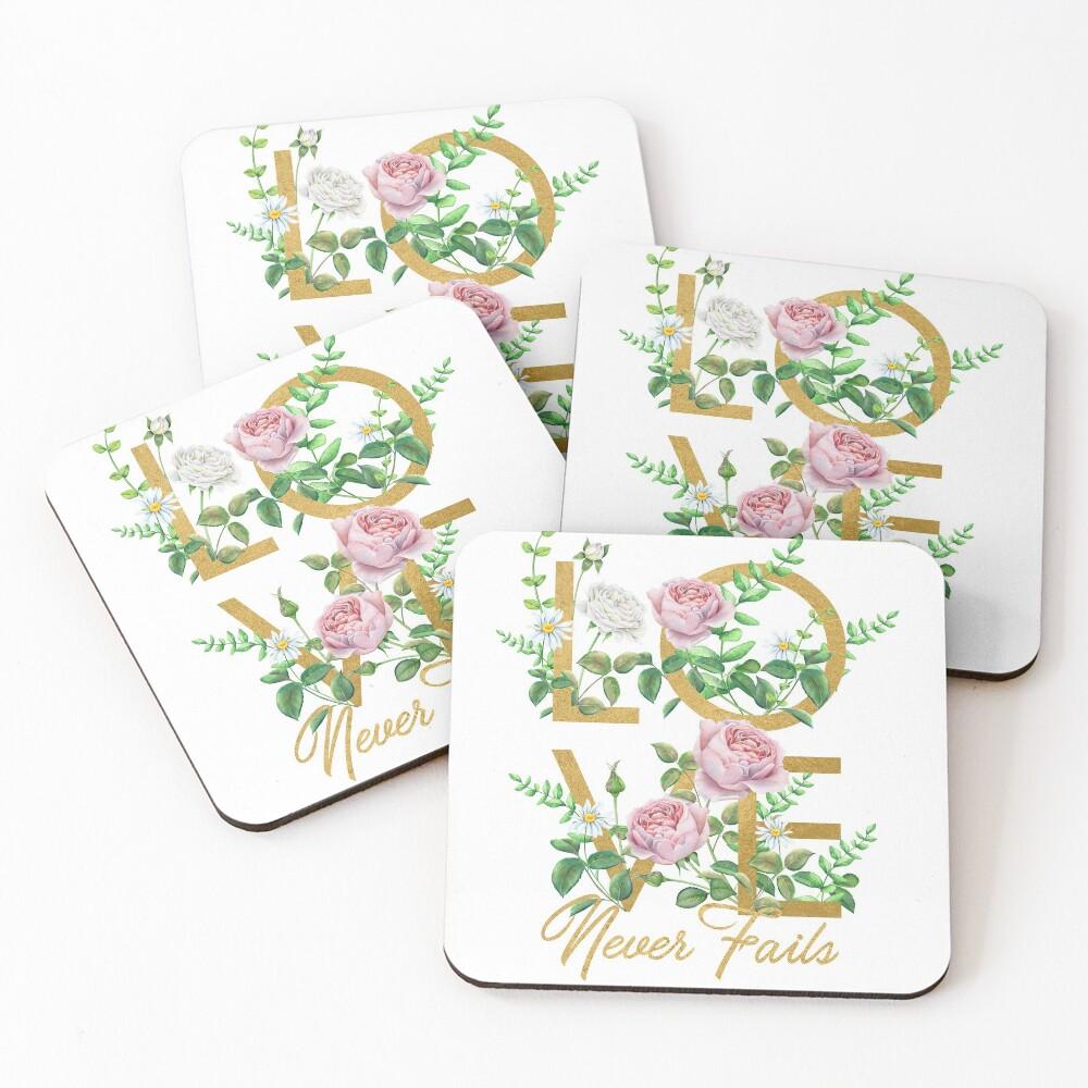 LOVE NEVER FAILS Coasters (Set of 4)