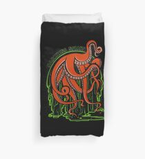 Monster octopus in the green radioactive sludge. Duvet Cover