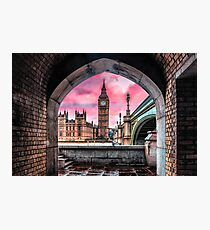 London Big Ben Pink Photographic Print