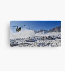 Snow flies up as a U.S. Army CH-47 Chinook prepares to land. Canvas Print