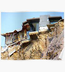 Living On The Edge - Earthquake Damage Sumner NZ Poster