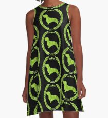 Dachshund Wire Camo Green A-Line Dress
