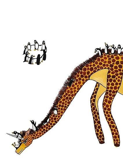 Giraffe Slide Penguins Playing by Jean Rim