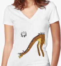 Giraffe Slide Penguins Playing Women's Fitted V-Neck T-Shirt